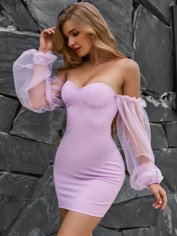 Lavender bustier dress with mesh sleeves for date night outfits