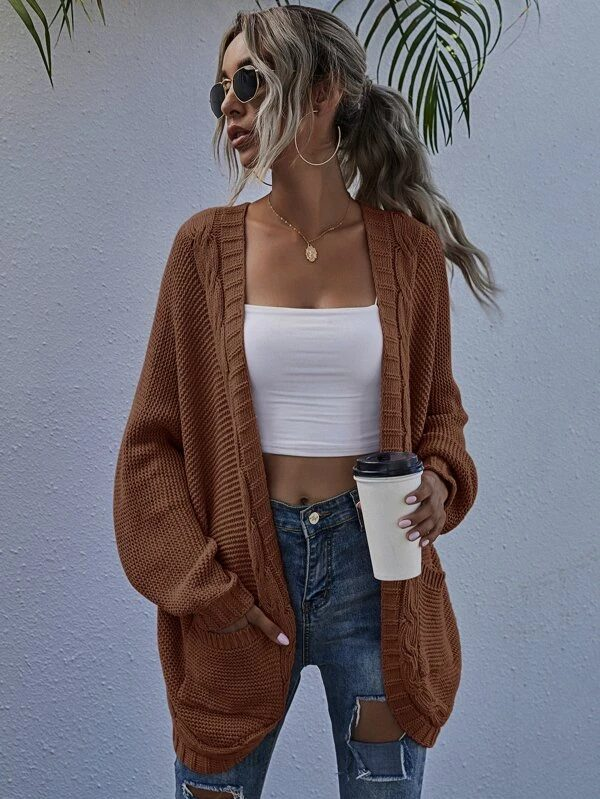 Brown knitted cardigan for dark academia outfits
