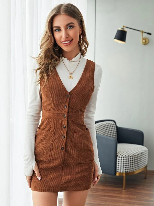 Brown corduroy dress for dark academia outfits