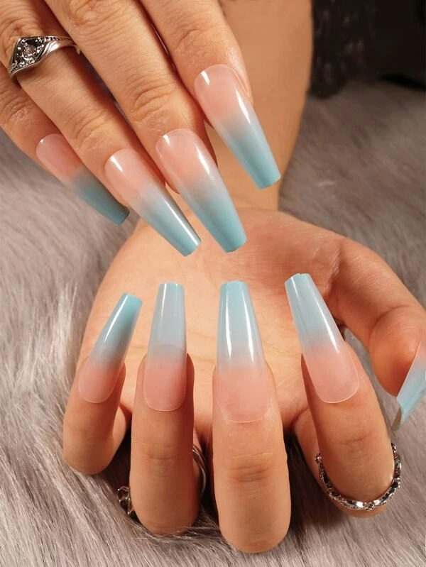 Blue and pink ombre design for coffin nails
