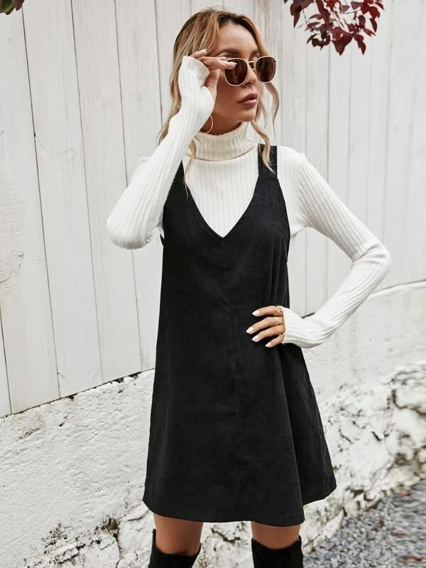 Black corduroy dress for dark academia outfits