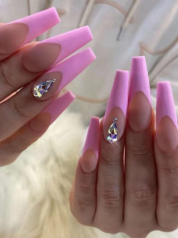 Pink tips with rhinestones for coffin nails