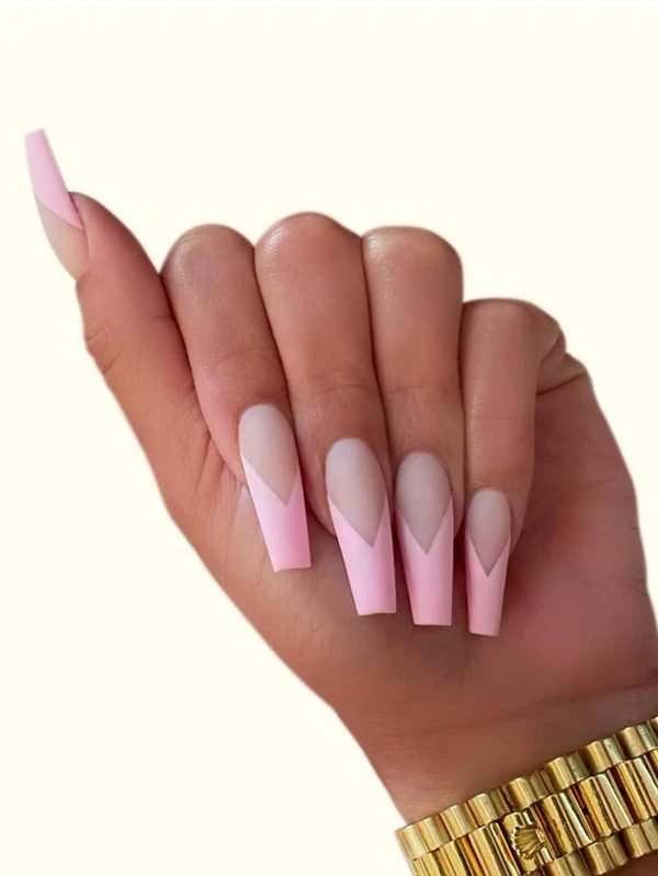 Pink tips coffin nails
