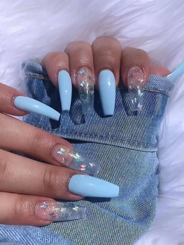 Powder blue and transparent butterfly nails