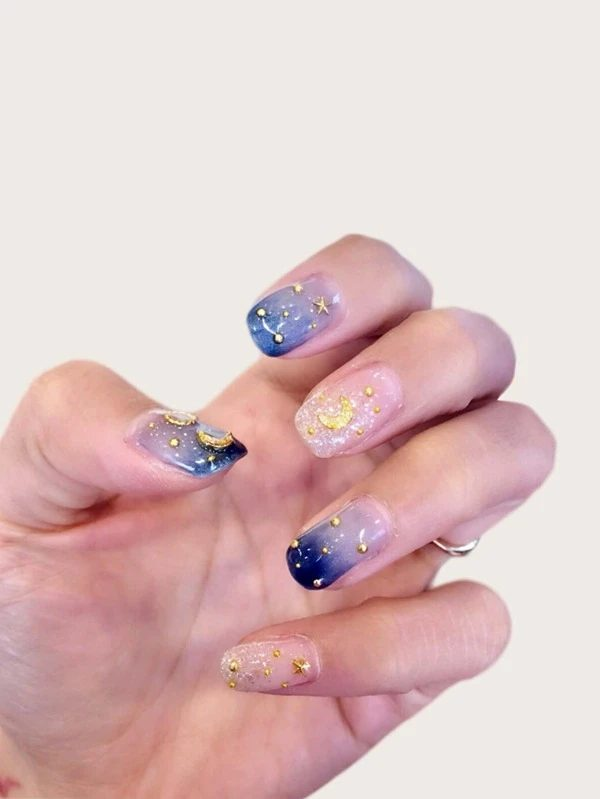 Stars and sequins blue nails