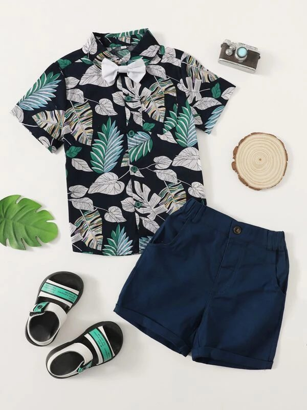 Navy blue and tropical t-shirt for toddlers