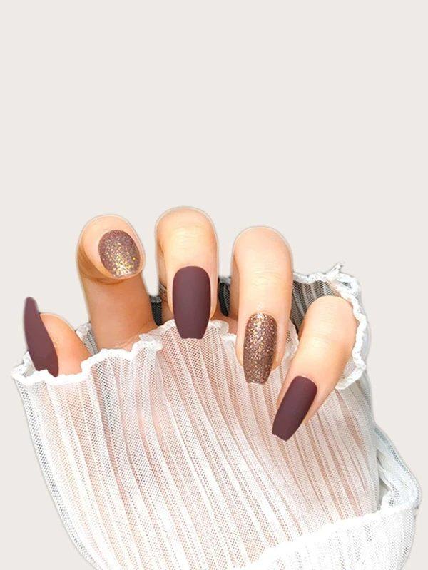 Deep mauve matte nails with glitter