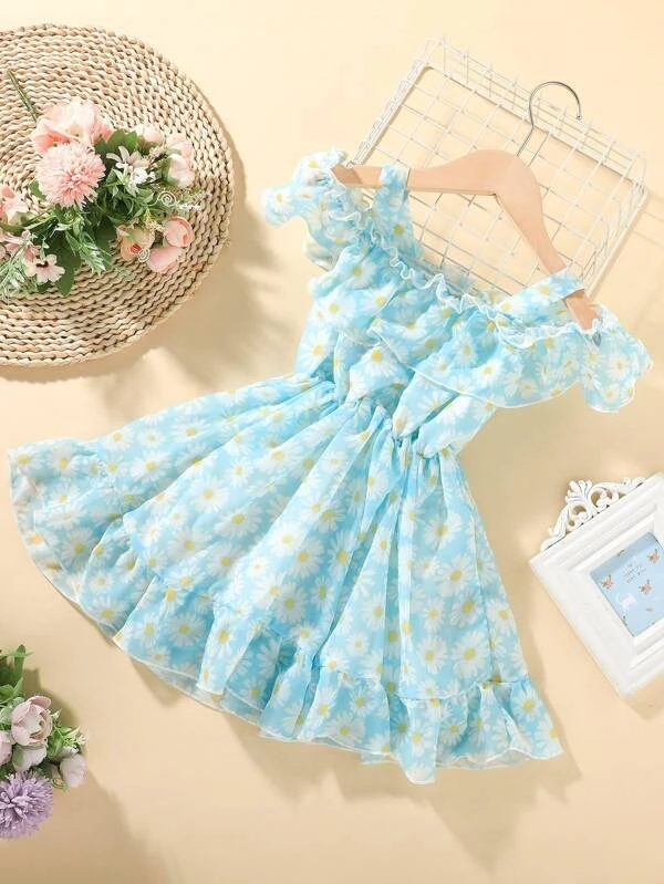 Blue dress with daisies for baby girls