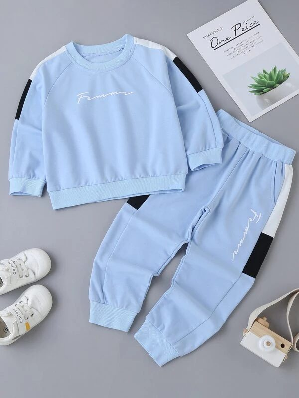 Cute light blue sweatsuit and jogger set for toddlers