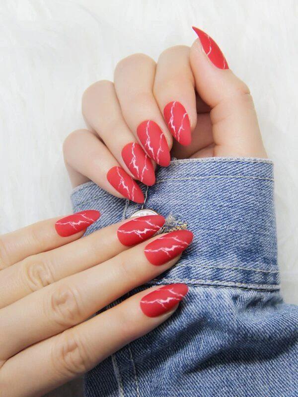 Red lightning nails