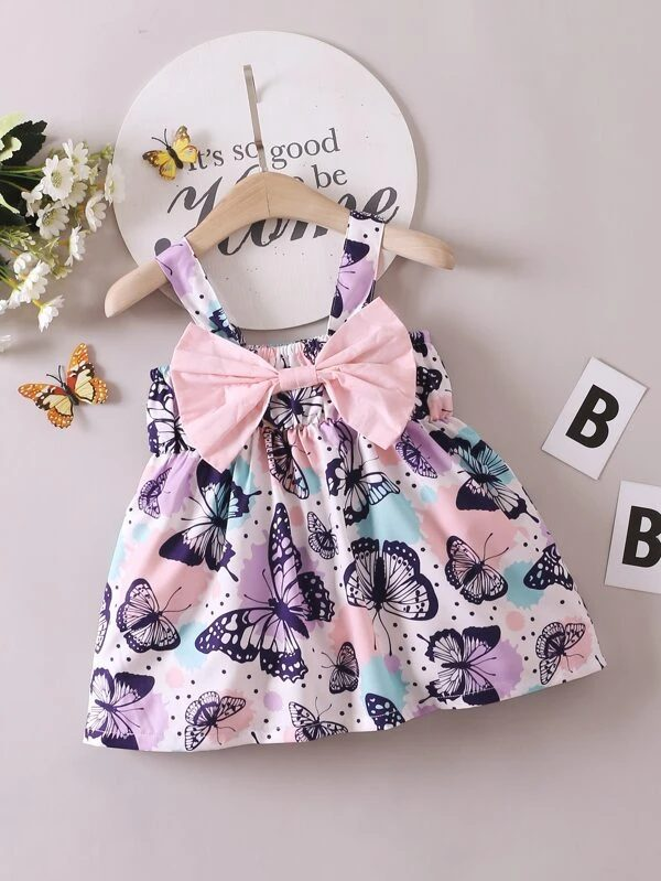 Butterfly dress with ribbon for baby girls