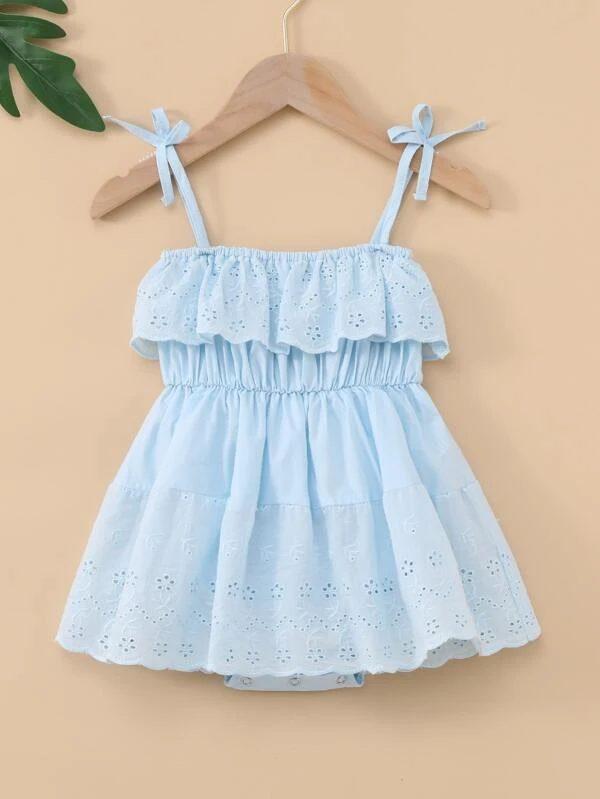 Powder blue dress for baby girls