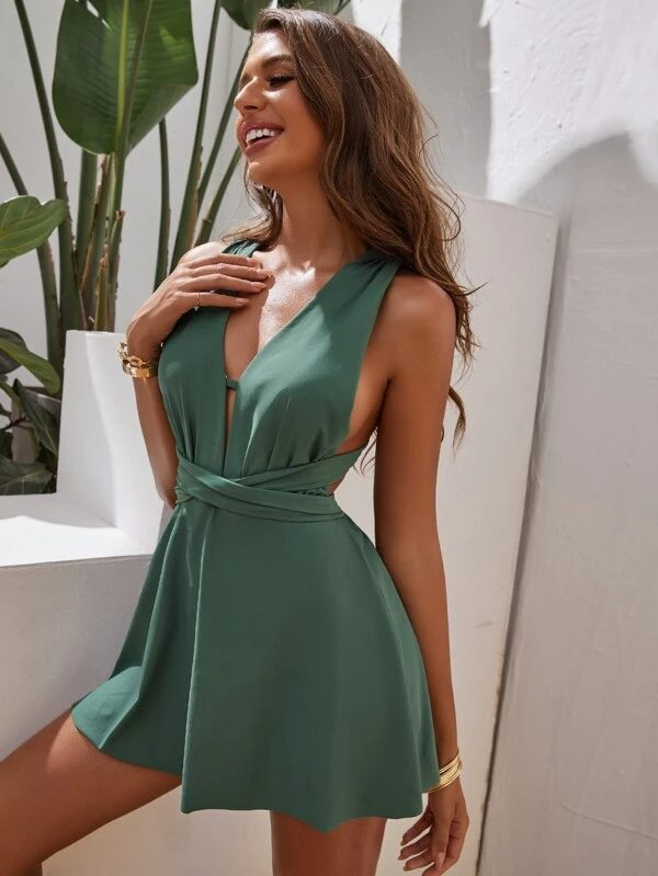 SSage green swimdress for hip dips