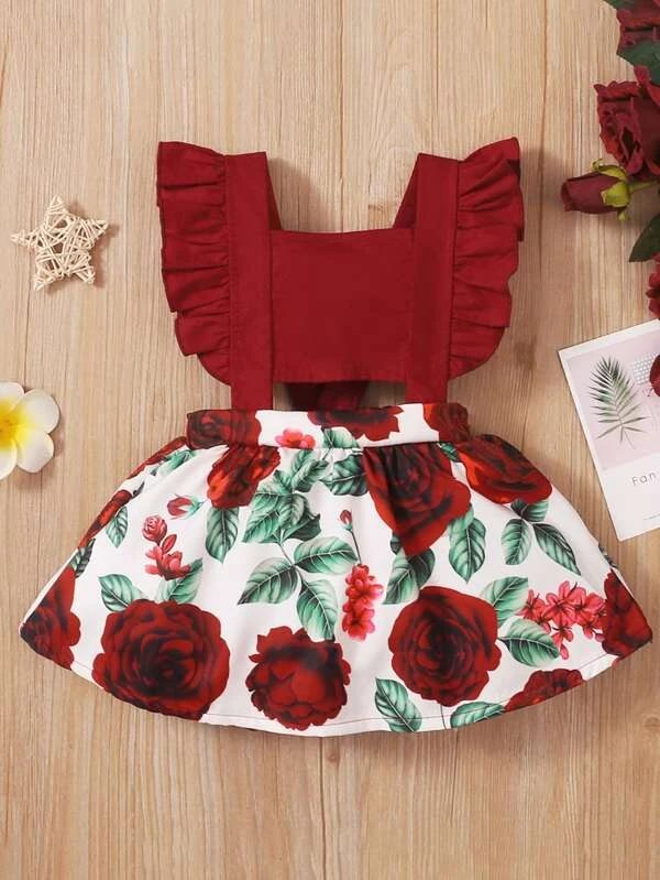 Red dress with rose and ruffles for toddlers