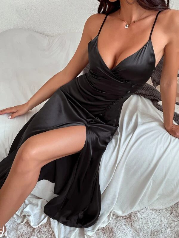 Sexy satin maxi dress with high slit for date night outfits