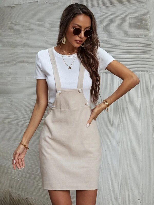Cream overall dress with white tee