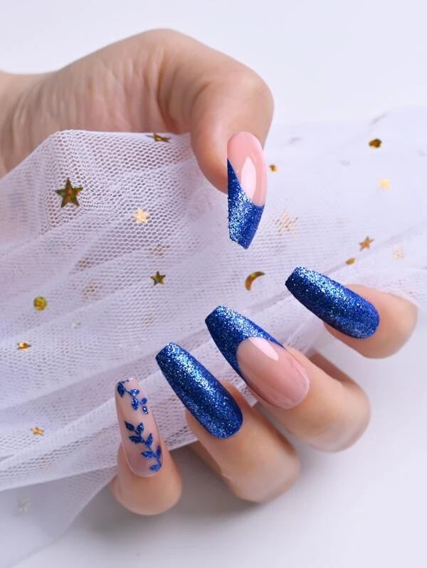 Glitter royal blue nails