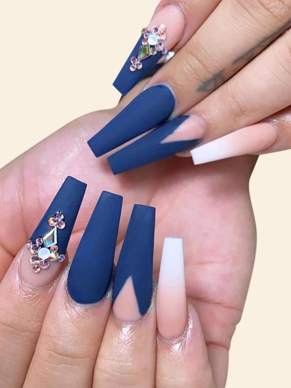 Navy matte blue nails with rhinestones