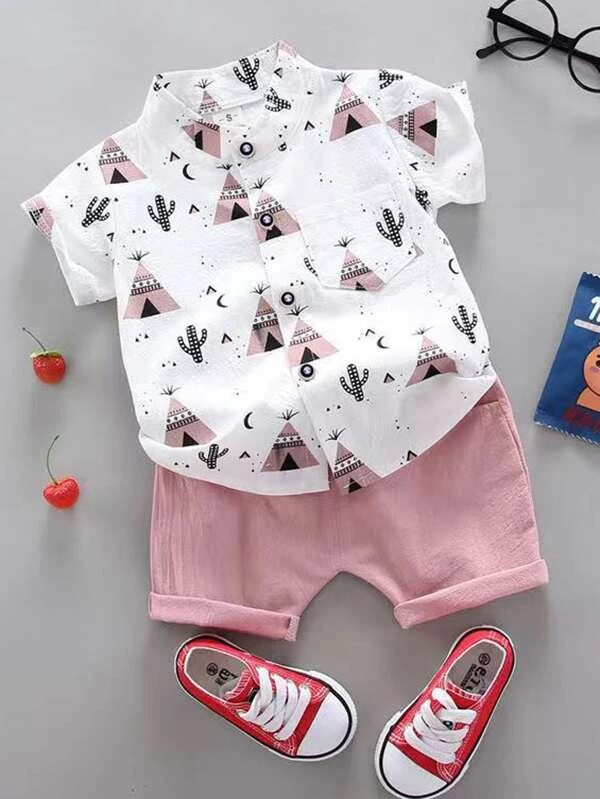 Pink t-shirt and shorts set for toddlers