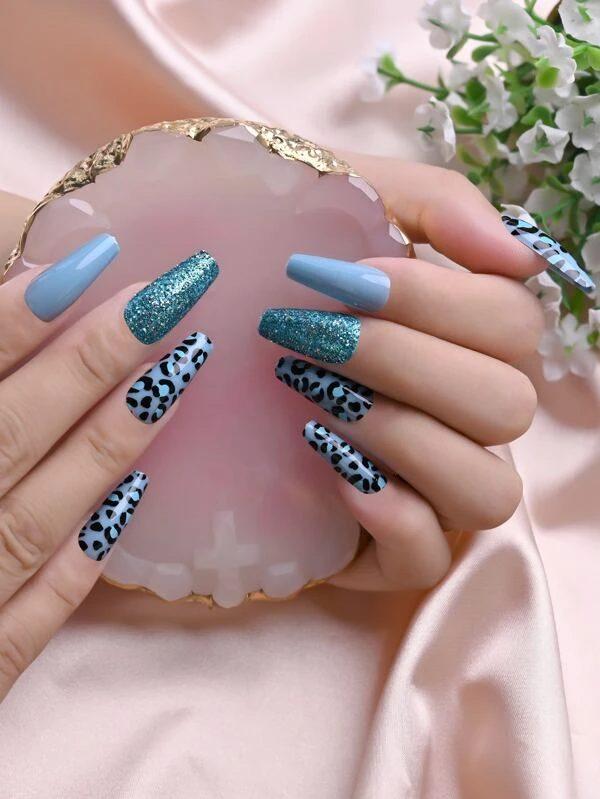 Leopard print and glitter blue nails