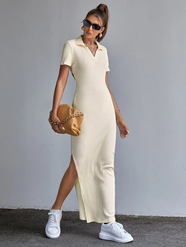 Sporty summer maxi dress with collar