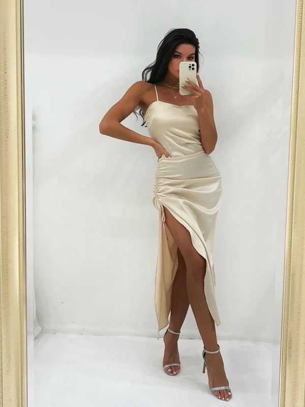 Satin ivory maxi dress with high slit for date night