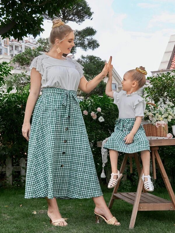 Green gingham skirt mommy and me outfit