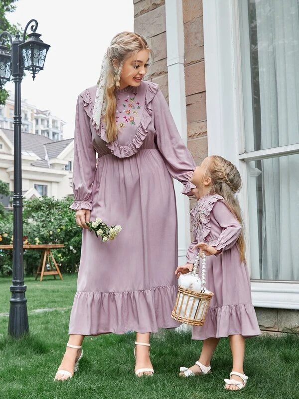 Purple vintage dress with ruffles mommy and me outfit