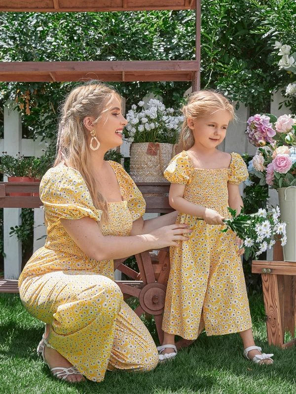 Matching yellow cottagecore romper for mom and daughter