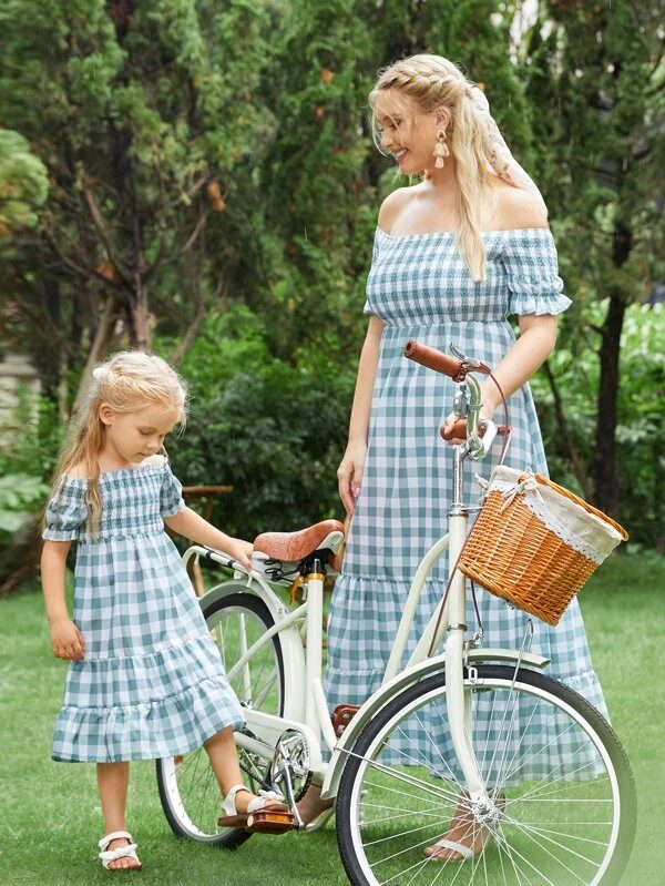 Blue off-shoulder gingham dress mommy and me outfit