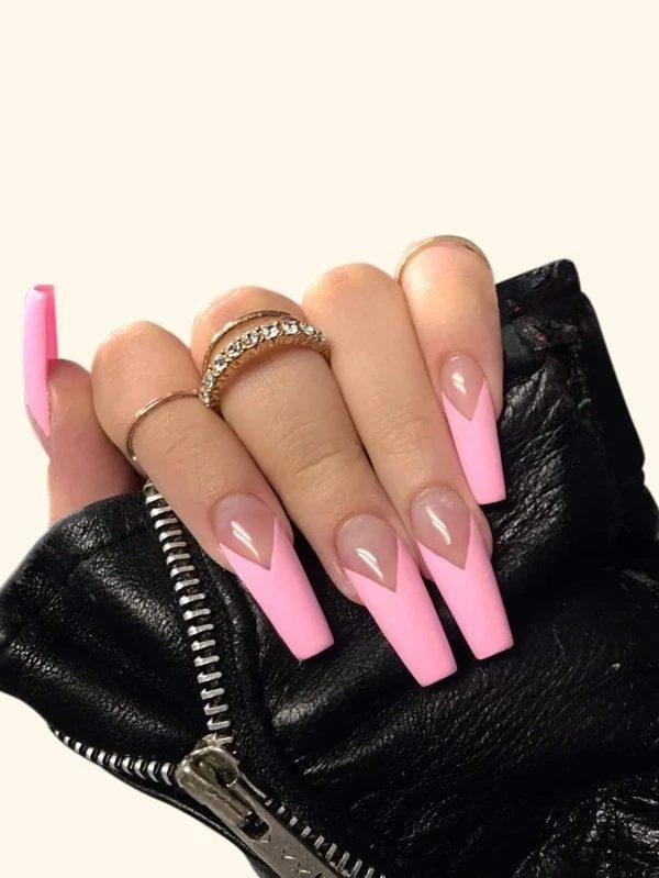 Pink tip design for coffin nails