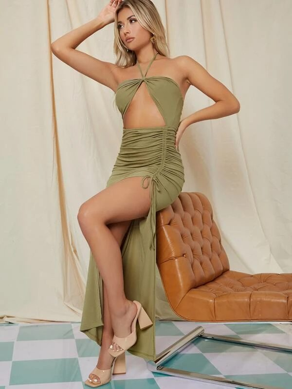 Sexy cut-out summer maxi dress in olive green