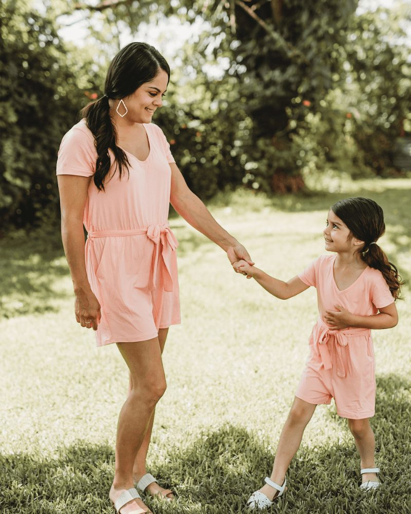 Casual matching light pink romper for mom and daughter