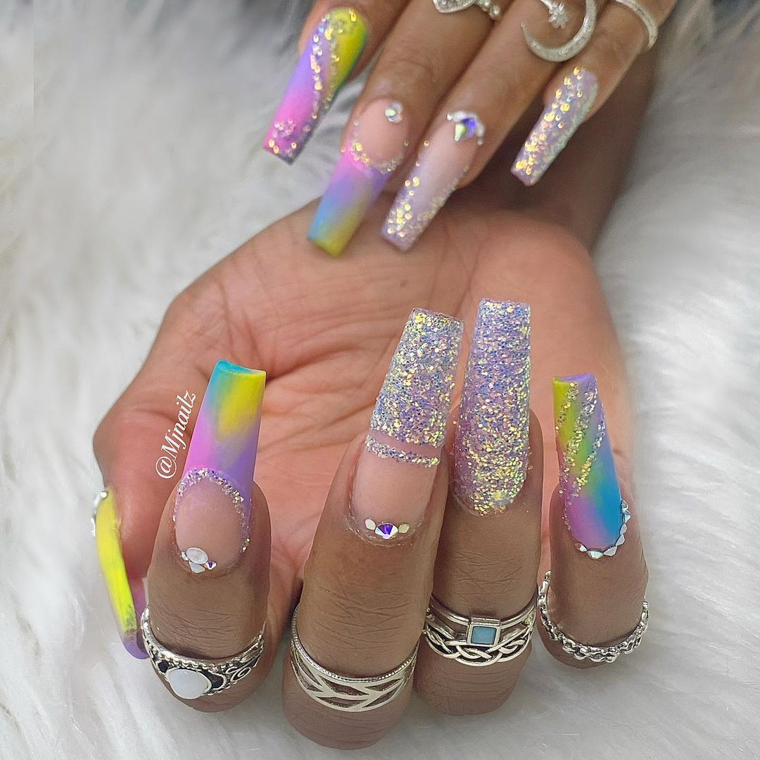 Tie dye and holographic glitter nails