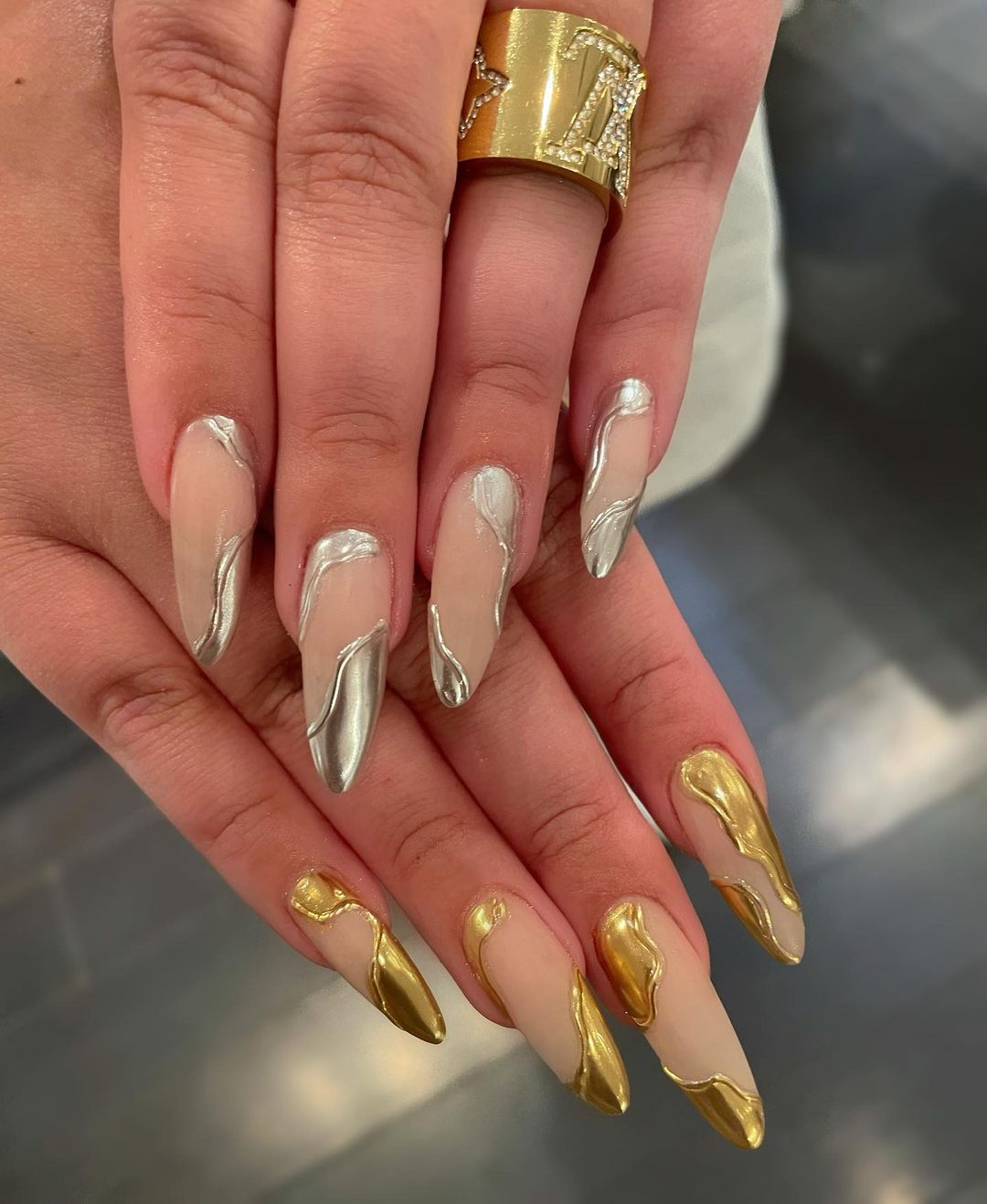 Molten silver and gold nails