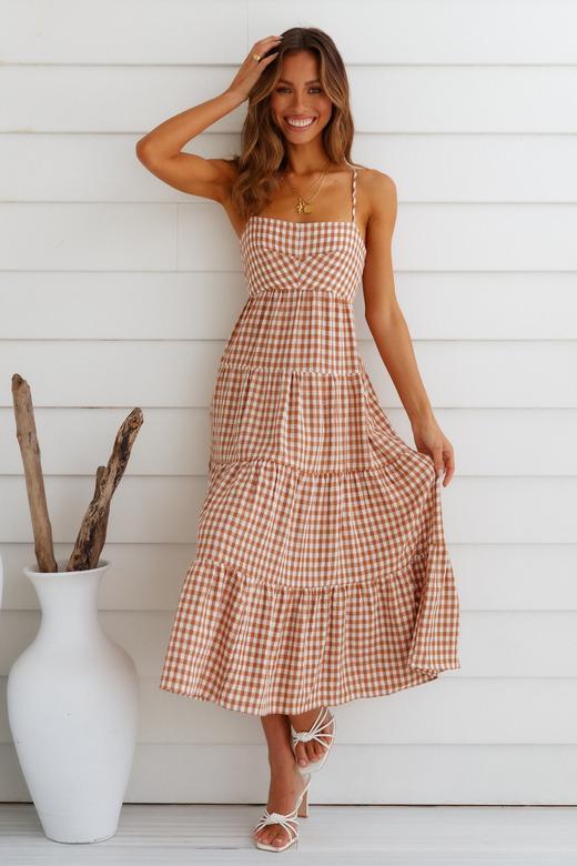 Checkered summer maxi dress