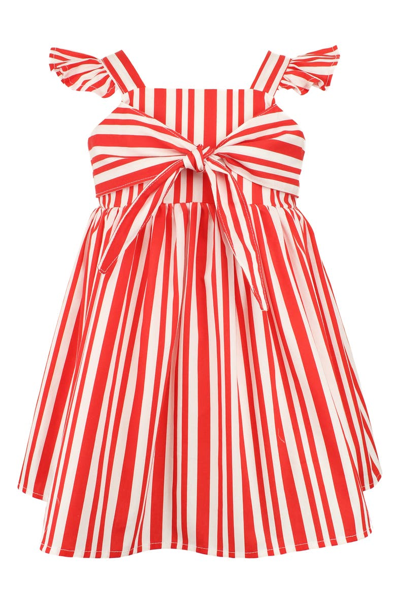 Red striped dress for baby girls