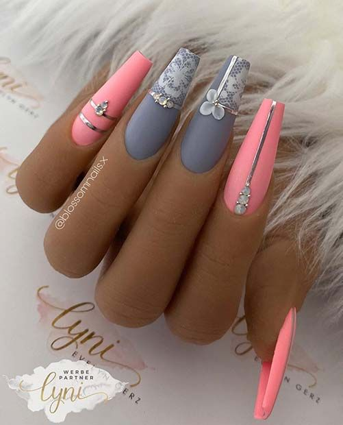 Grey and pink nails with lace design