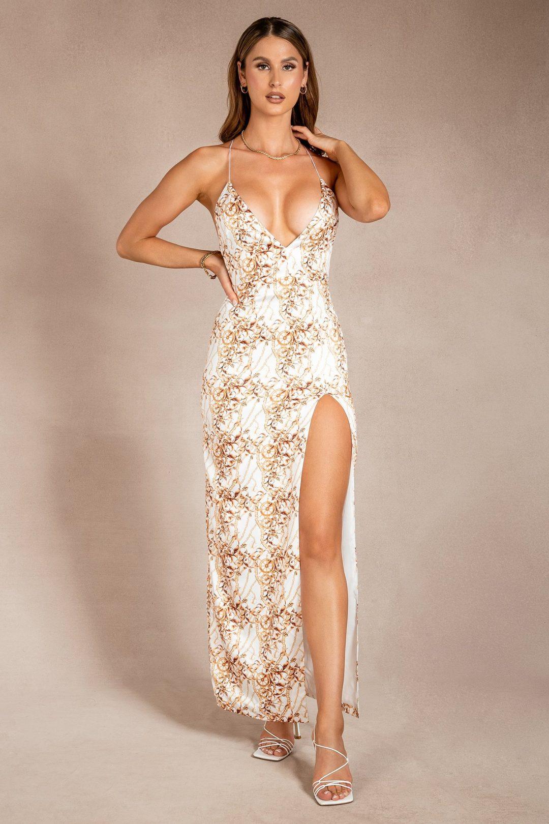 Plunge neck summer maxi dress