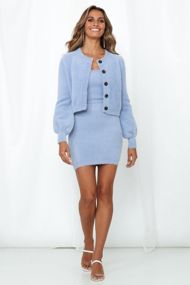 All-blue knitted outfit set for gender reveal outfit