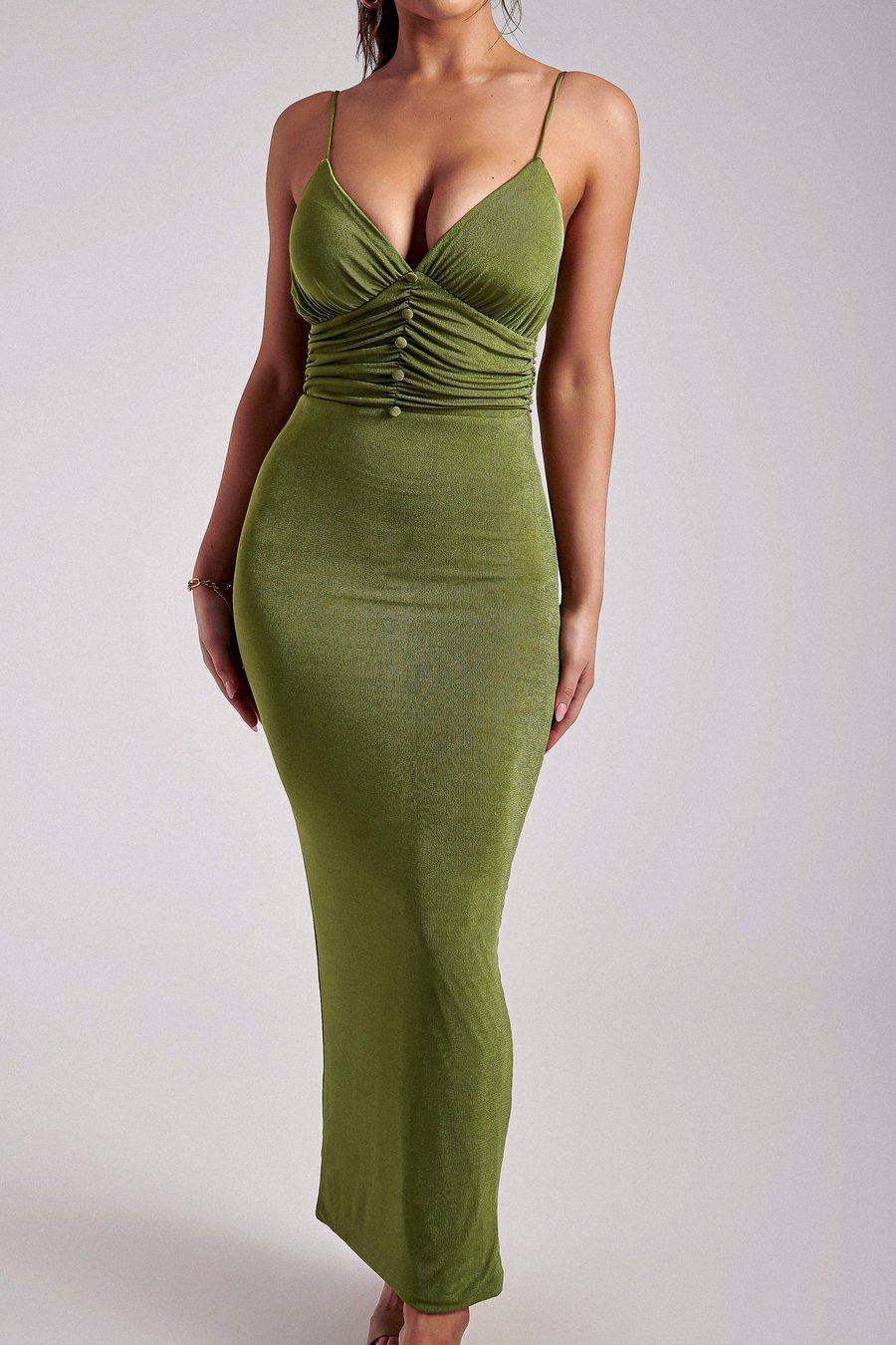 Green button through maxi dress