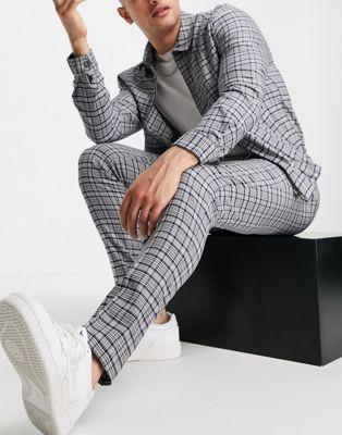 Grey checkered blazer suit for men