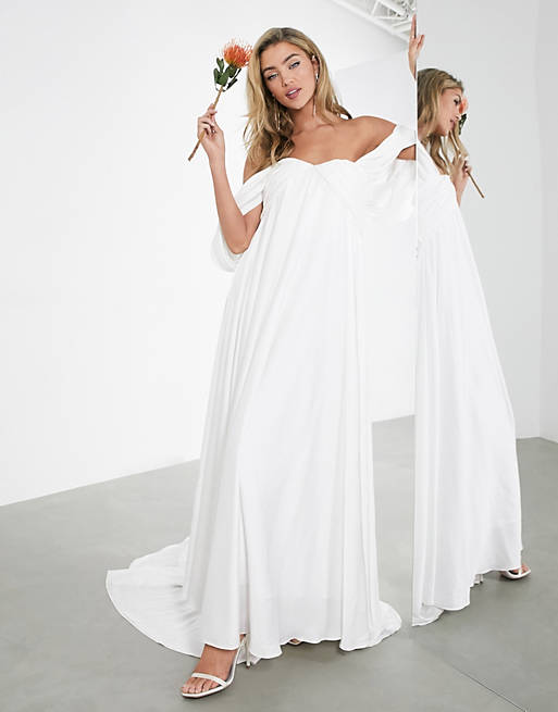 Off-shoulder ruched bridal dress with draped sleeves