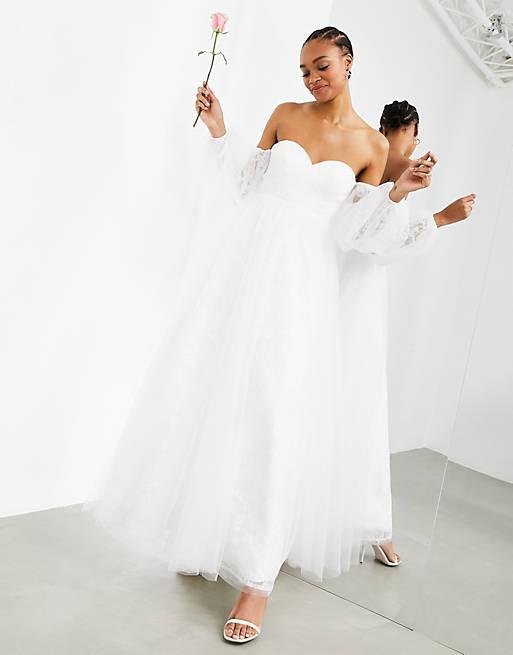 Long-sleeve bardot bridal dress