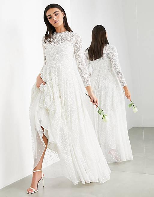 Long-sleeved affordable wedding dress