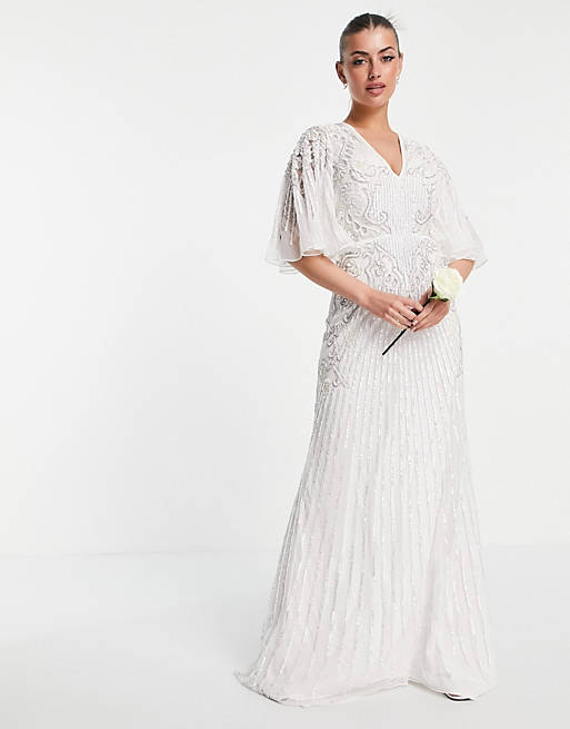 Kimono sleeve style bridal dress with sequins and embroidery