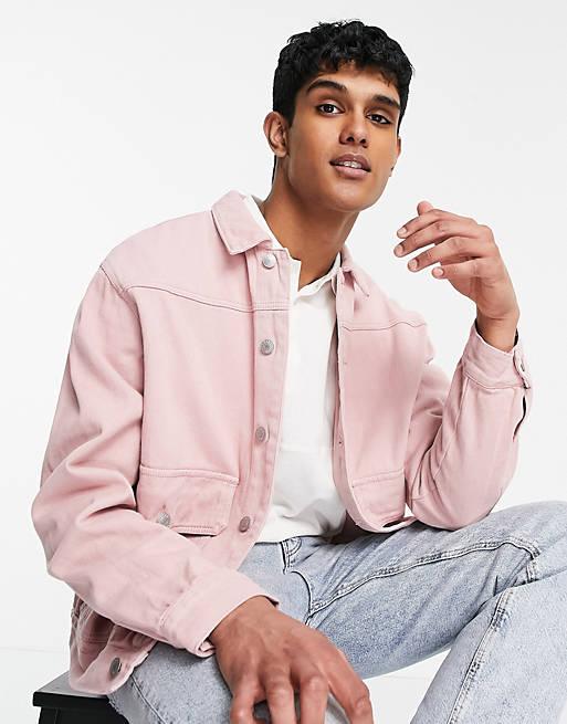 Soft pink denim jacket for men for a gender reveal party