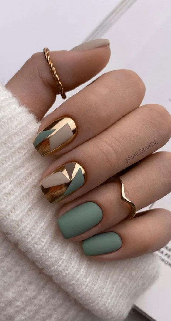 Matte sage green nails with chrome gold accents