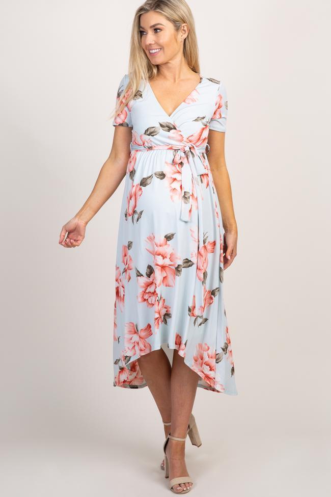Light blue floral wrap around v-neck nursing dress