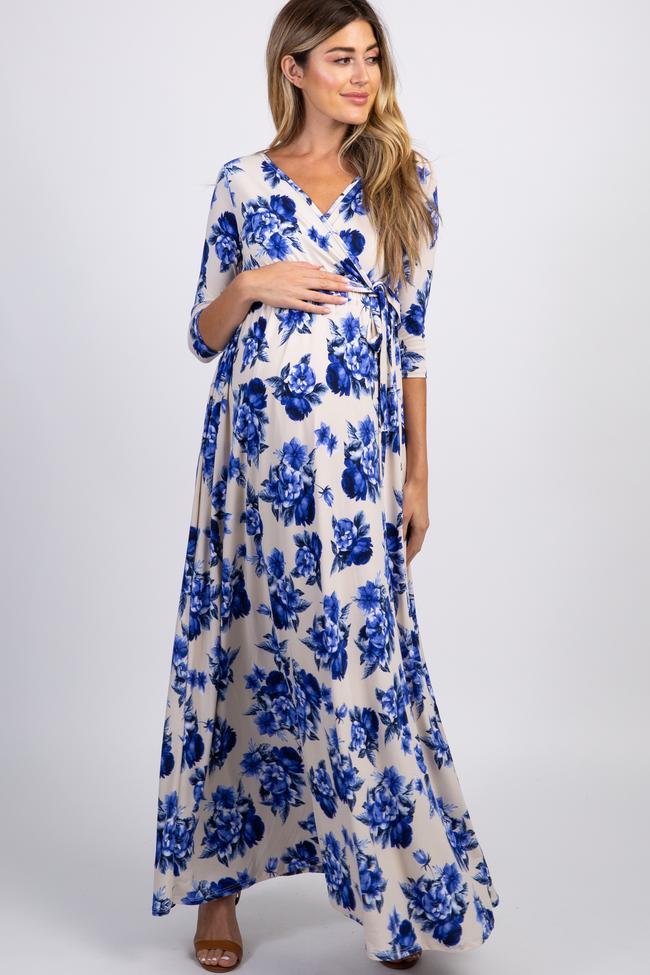 Blue floral maxi wrap nursing dress